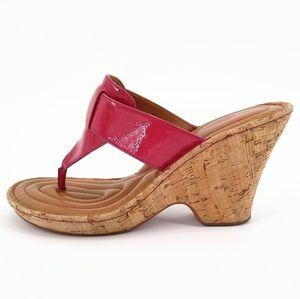 BORN Pink Patent Leather Sandal Cork Wedges